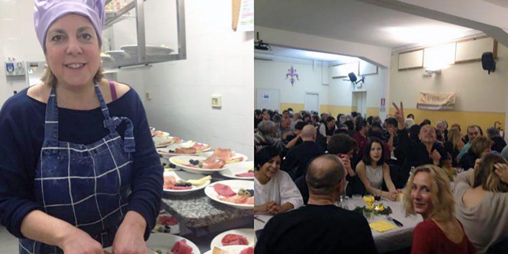 A sinistra la foto di una donna bionda che indossa un cappello da cuoca mentre prepara un piatto con dei salumi e dietro di lei altri piatti già preparati. A destra la foto con qualche decina di persone a tavola che mangiano e salutano la fotocamera.