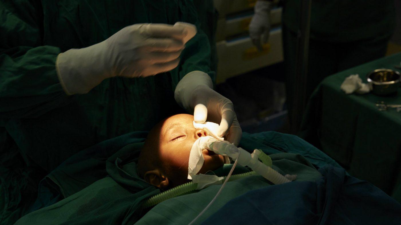Baraka being operated upon.
