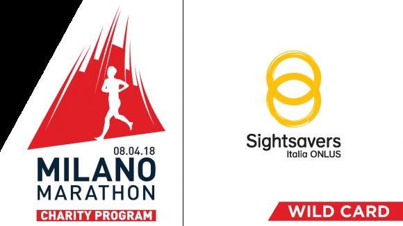 a destra il logo di Sightsavers a sinistra il logo della Milano Marathon con un uomo stilizzato che corre