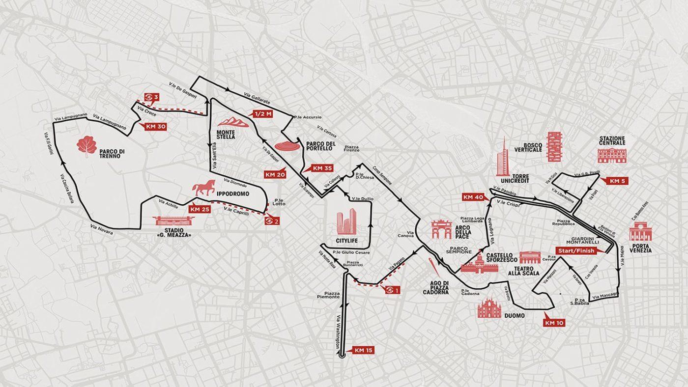 Mappa del percorso della maratona di Milano